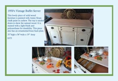 """1950's Buffet Server – 35""""H x 56""""W x 19""""D – $375"""