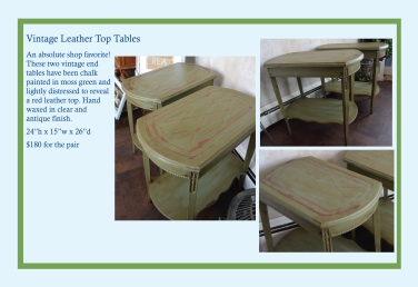 """Leather Top End Tables – 24""""H x 15""""W x 26""""D – $180 for the pair"""