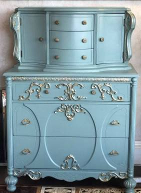 $485- Beautiful one of a kind recreated tall dresser. Hand painted with champagne gold accent color. 52Hx 36Wx19D