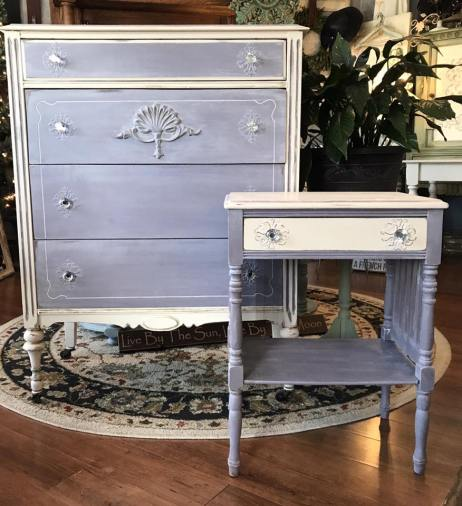 $490 for both- One of a kind recreated hand painted dresser and nightstand. Added design with paper clay moulds on drawers. Glass knobs, lightly distressed. Very soft lavender and cream. Dresser- 47Hx 33Wx 18D Nightstand - 27Hx 20Wx14D